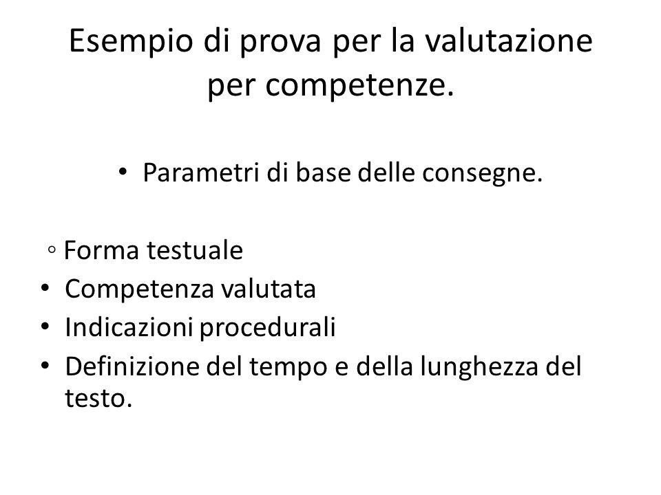 Esempio di prova per la valutazione per competenze.
