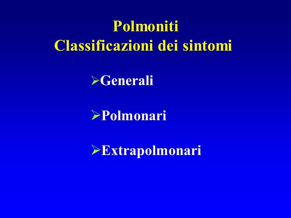 Polmoniti Classificazioni dei sintomi Generali Polmonari Extrapolmonari