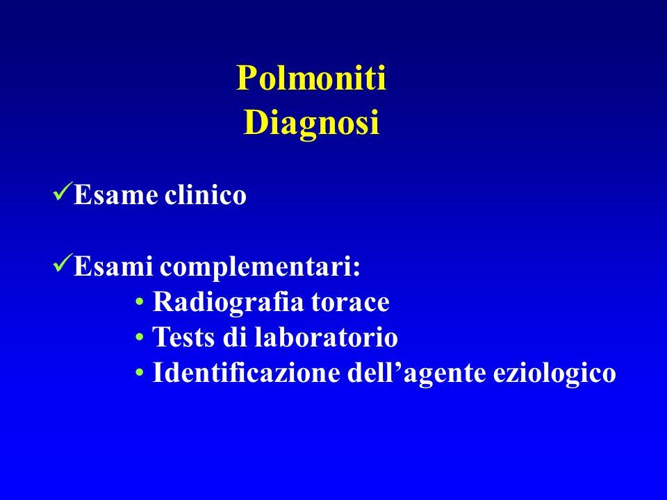 Polmoniti Diagnosi Esame clinico Esami complementari: Radiografia torace Tests di laboratorio Identificazione dellagente eziologico