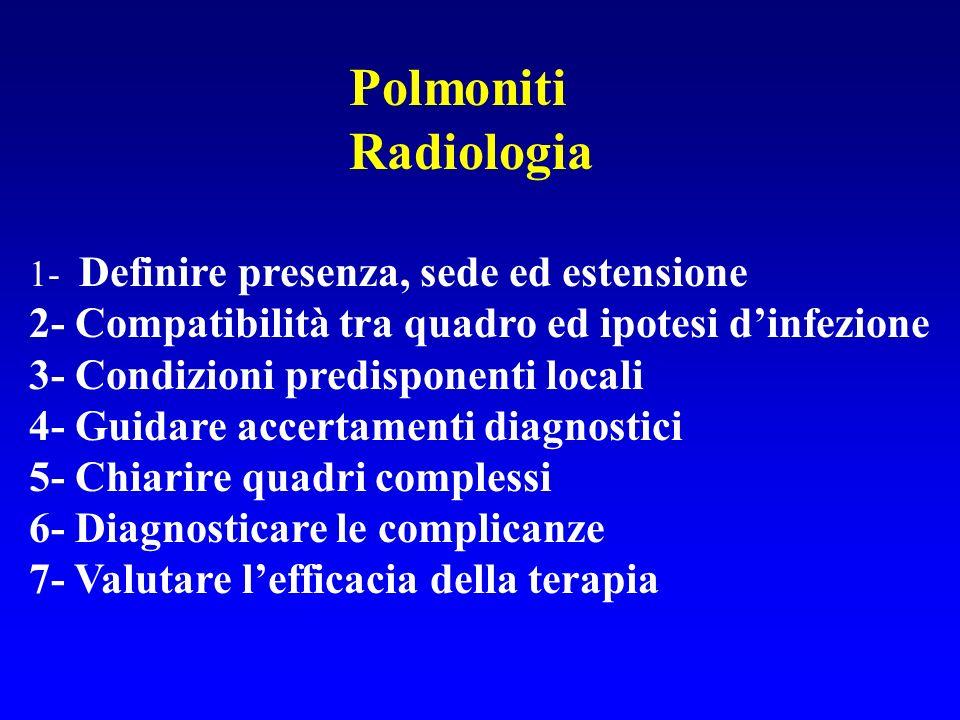 Polmoniti Radiologia 1- Definire presenza, sede ed estensione 2- Compatibilità tra quadro ed ipotesi dinfezione 3- Condizioni predisponenti locali 4-
