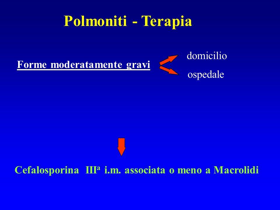 domicilio ospedale Cefalosporina III a i.m. associata o meno a Macrolidi Forme moderatamente gravi