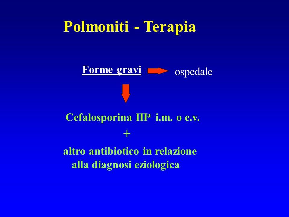 Polmoniti - Terapia Forme gravi ospedale Cefalosporina III a i.m. o e.v. + altro antibiotico in relazione alla diagnosi eziologica