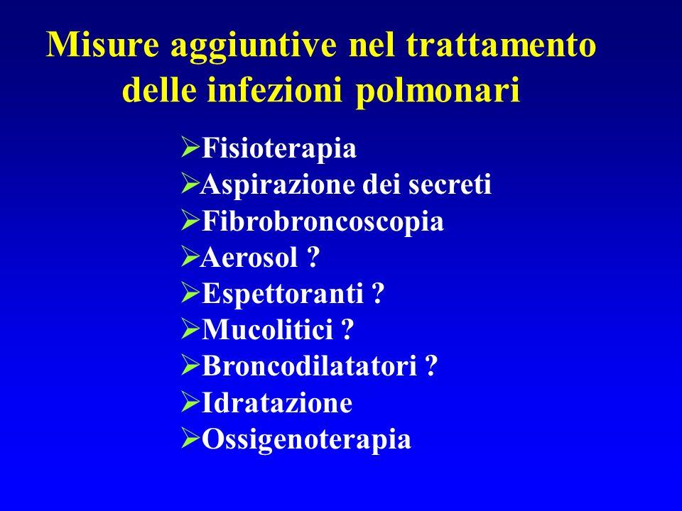 Misure aggiuntive nel trattamento delle infezioni polmonari Fisioterapia Aspirazione dei secreti Fibrobroncoscopia Aerosol ? Espettoranti ? Mucolitici