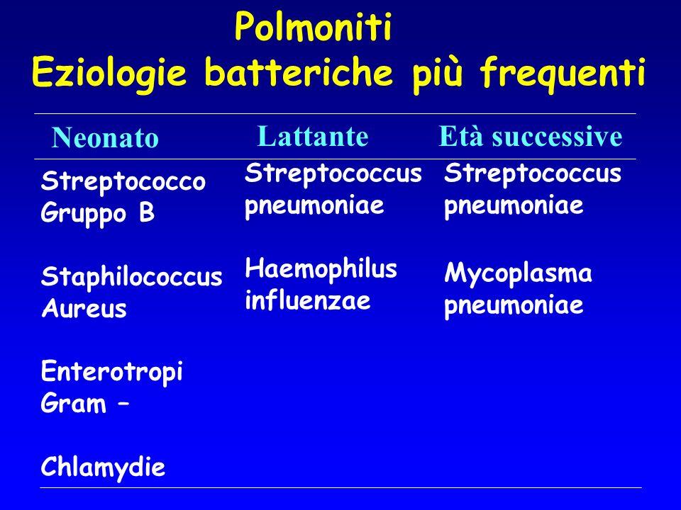 Polmoniti Eziologie batteriche più frequenti Neonato LattanteEtà successive Streptococco Gruppo B Staphilococcus Aureus Enterotropi Gram – Chlamydie S