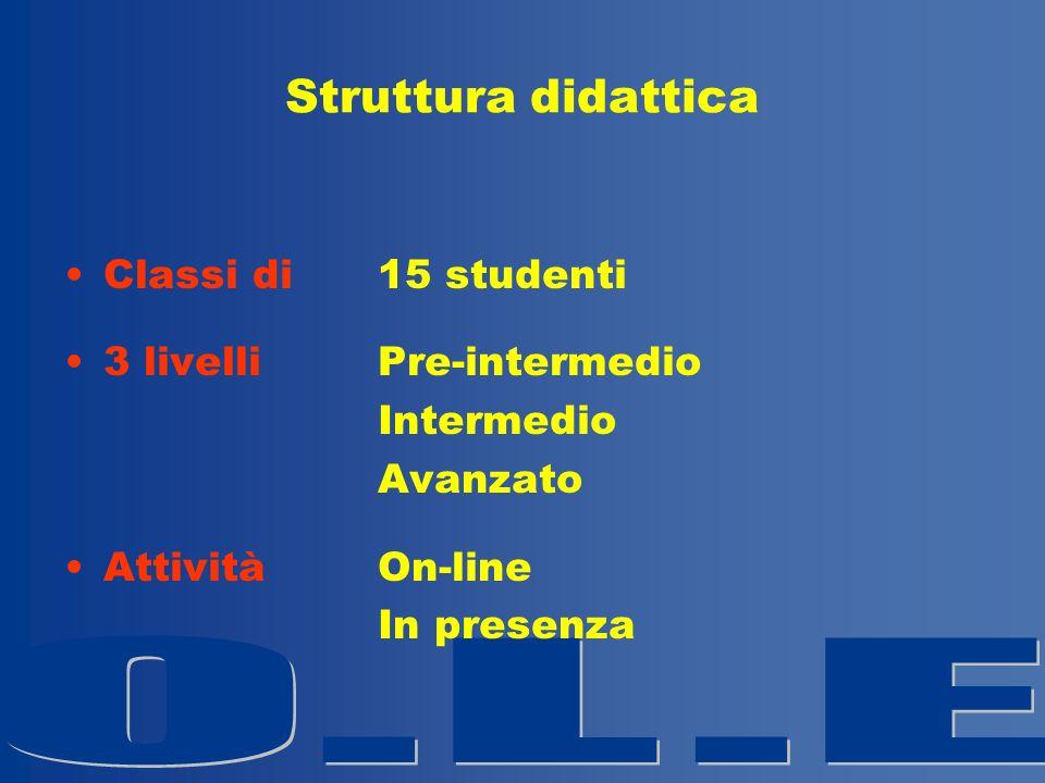 Struttura didattica Classi di 15 studenti 3 livelliPre-intermedio Intermedio Avanzato Attività On-line In presenza