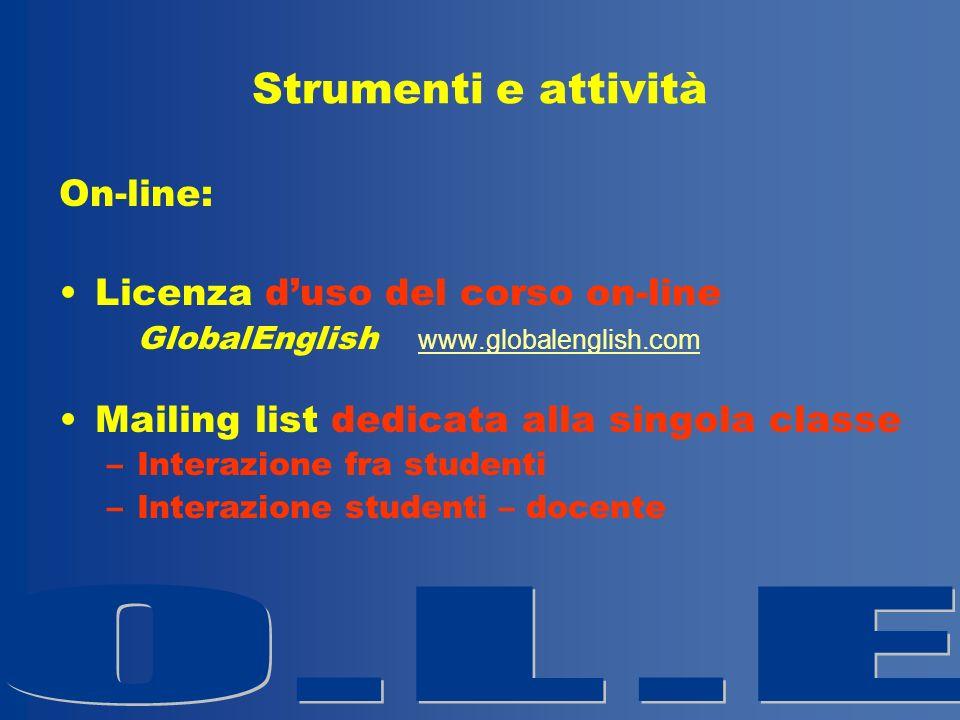 Strumenti e attività On-line: Licenza duso del corso on-line GlobalEnglish www.globalenglish.com www.globalenglish.com Mailing list dedicata alla sing