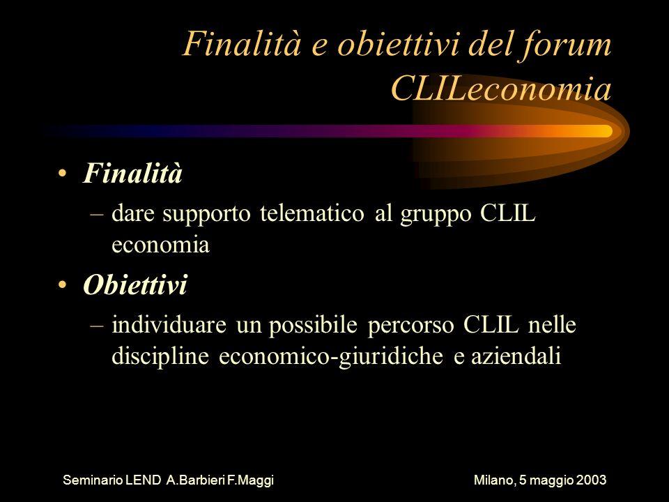 Finalità e obiettivi del forum CLILeconomia Finalità –dare supporto telematico al gruppo CLIL economia Obiettivi –individuare un possibile percorso CLIL nelle discipline economico-giuridiche e aziendali