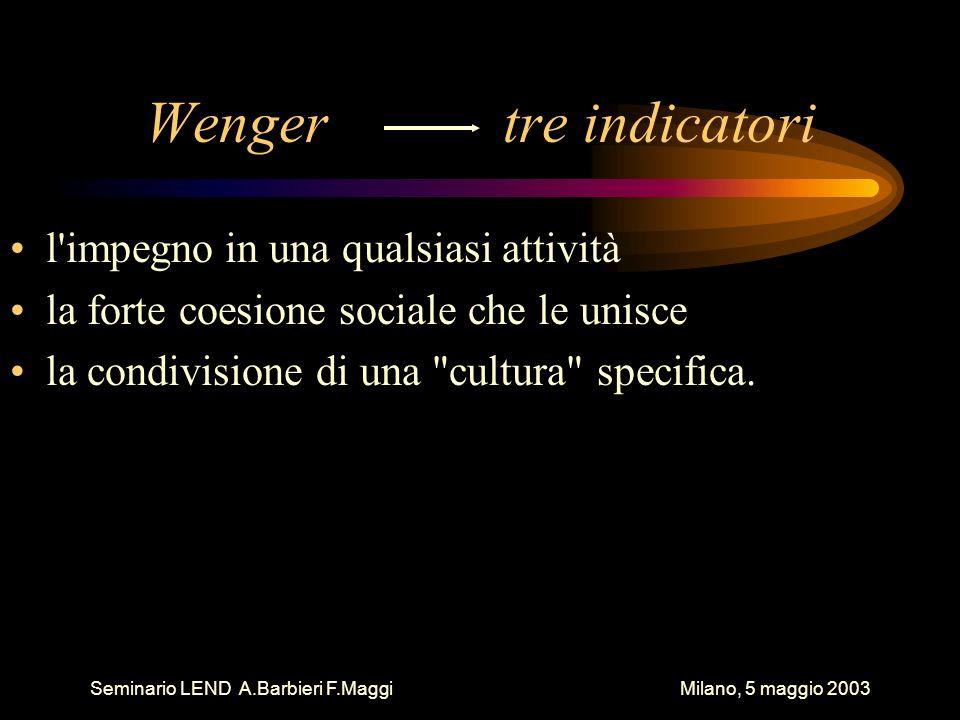 Seminario LEND A.Barbieri F.Maggi Milano, 5 maggio 2003 Wenger tre indicatori l'impegno in una qualsiasi attività la forte coesione sociale che le uni
