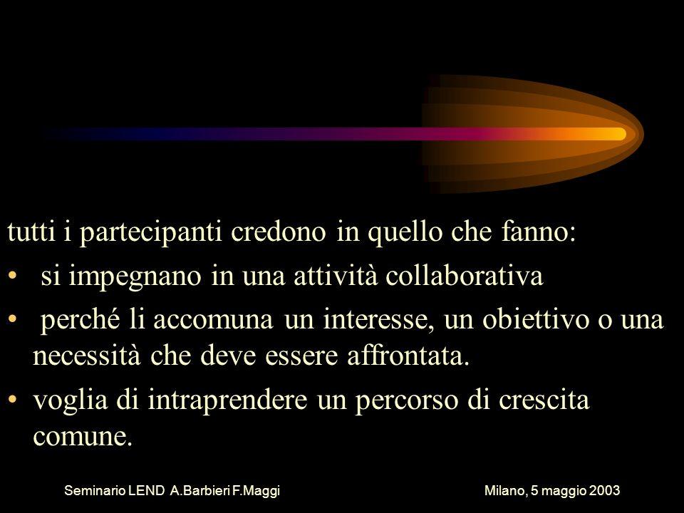 Seminario LEND A.Barbieri F.Maggi Milano, 5 maggio 2003 tutti i partecipanti credono in quello che fanno: si impegnano in una attività collaborativa perché li accomuna un interesse, un obiettivo o una necessità che deve essere affrontata.