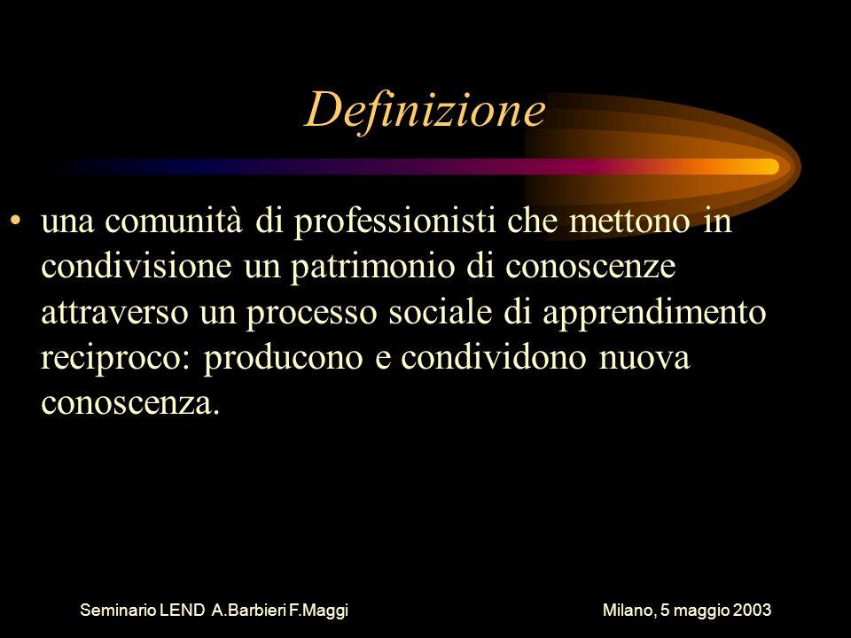 Seminario LEND A.Barbieri F.Maggi Milano, 5 maggio 2003 Definizione una comunità di professionisti che mettono in condivisione un patrimonio di conosc