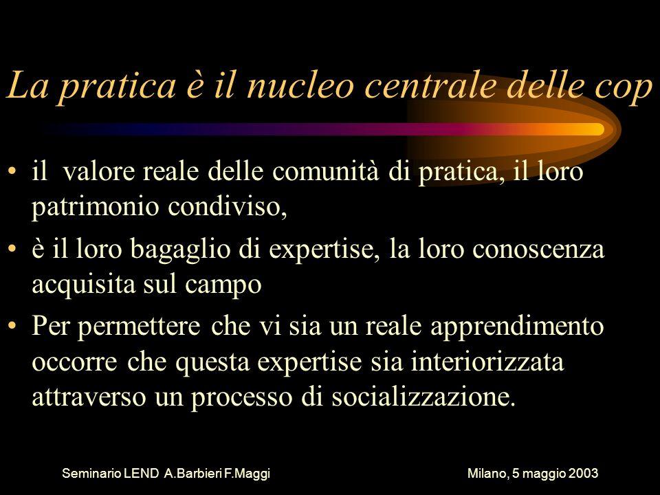 Seminario LEND A.Barbieri F.Maggi Milano, 5 maggio 2003 La pratica è il nucleo centrale delle cop il valore reale delle comunità di pratica, il loro patrimonio condiviso, è il loro bagaglio di expertise, la loro conoscenza acquisita sul campo Per permettere che vi sia un reale apprendimento occorre che questa expertise sia interiorizzata attraverso un processo di socializzazione.