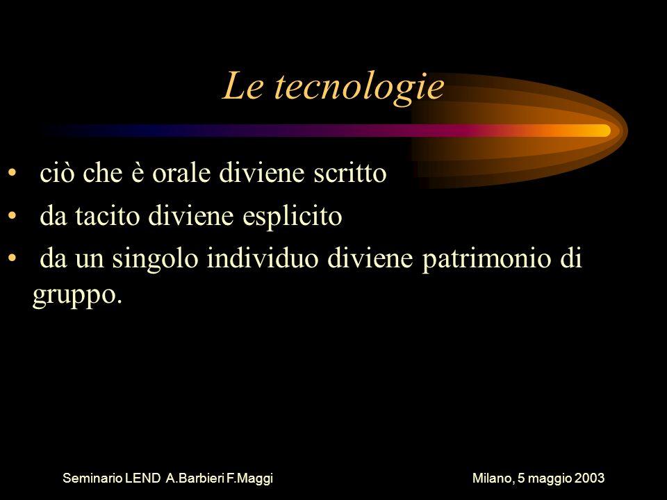 Le tecnologie ciò che è orale diviene scritto da tacito diviene esplicito da un singolo individuo diviene patrimonio di gruppo.