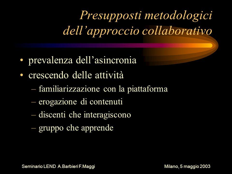 Seminario LEND A.Barbieri F.Maggi Milano, 5 maggio 2003 Presupposti metodologici dellapproccio collaborativo prevalenza dellasincronia crescendo delle