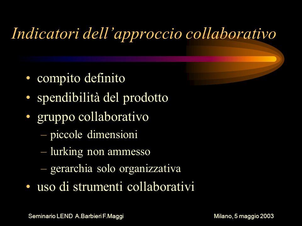 Seminario LEND A.Barbieri F.Maggi Milano, 5 maggio 2003 Indicatori dellapproccio collaborativo compito definito spendibilità del prodotto gruppo colla