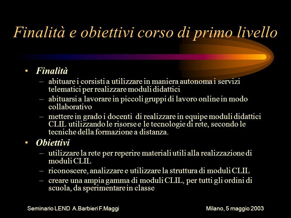 Seminario LEND A.Barbieri F.Maggi Milano, 5 maggio 2003 Fasi del corso di primo livello 1.Introduzione alla CMC 2.I servizi di Internet 3.Metodi e tecniche didattiche dell insegnamento CLIL 4.Produzione di moduli CLIL