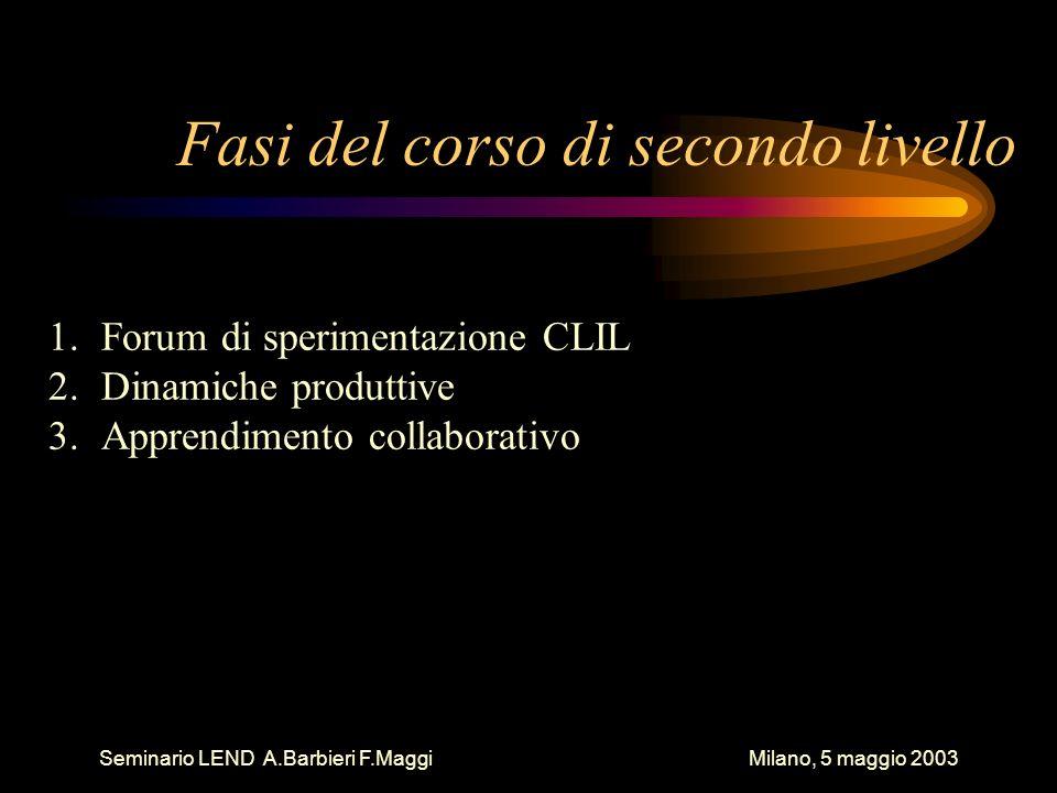 Seminario LEND A.Barbieri F.Maggi Milano, 5 maggio 2003 Fasi del corso di secondo livello 1.Forum di sperimentazione CLIL 2.Dinamiche produttive 3.Apprendimento collaborativo