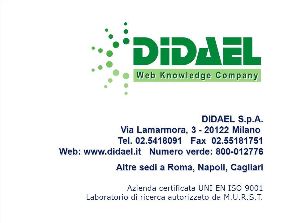 © DIDAEL S.p.A.Vietata la riproduzione e lutilizzo, anche parziale DIDAEL S.p.A.