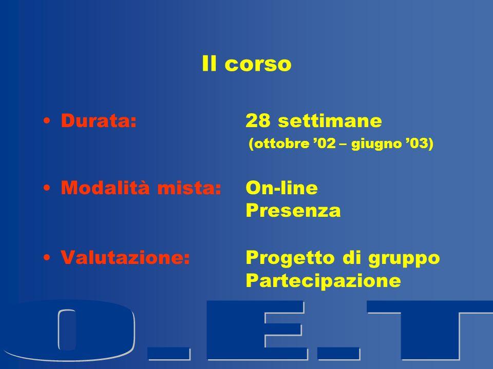 Il corso Durata: 28 settimane (ottobre 02 – giugno 03) Modalità mista: On-line Presenza Valutazione: Progetto di gruppo Partecipazione