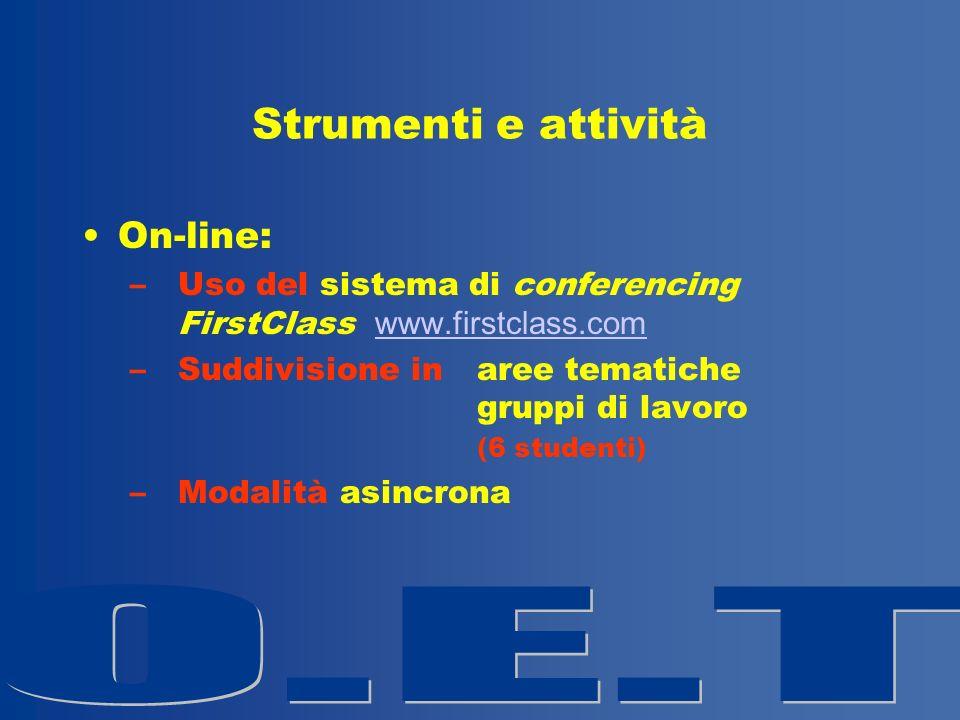 Strumenti e attività On-line: –Uso del sistema di conferencing FirstClass www.firstclass.com www.firstclass.com –Suddivisione in aree tematiche gruppi di lavoro (6 studenti) –Modalità asincrona