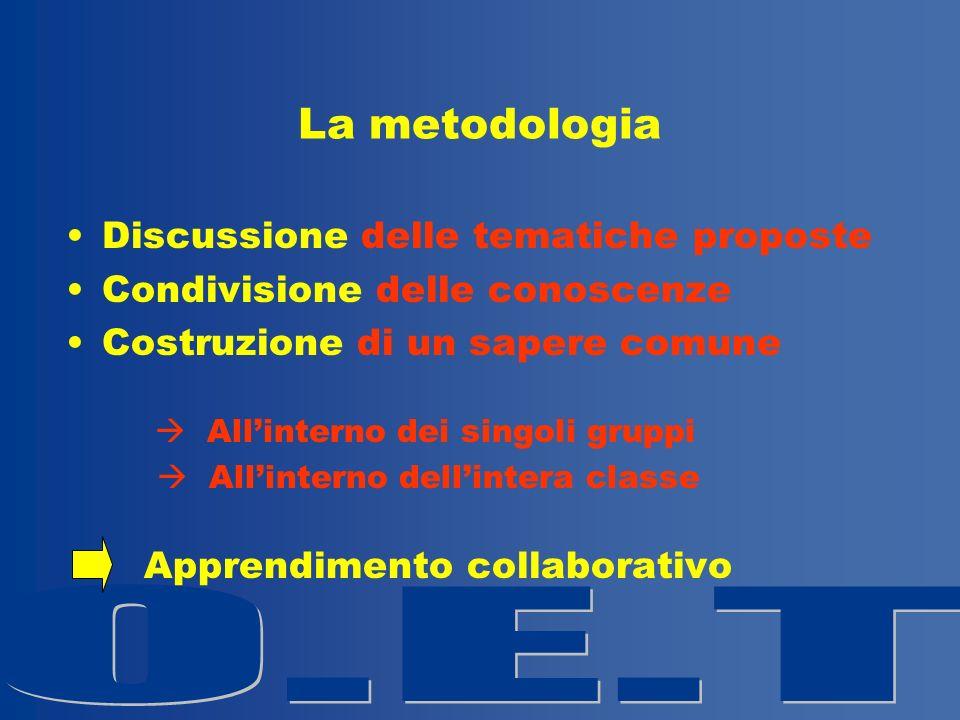 La metodologia Discussione delle tematiche proposte Condivisione delle conoscenze Costruzione di un sapere comune Allinterno dei singoli gruppi Allinterno dellintera classe Apprendimento collaborativo