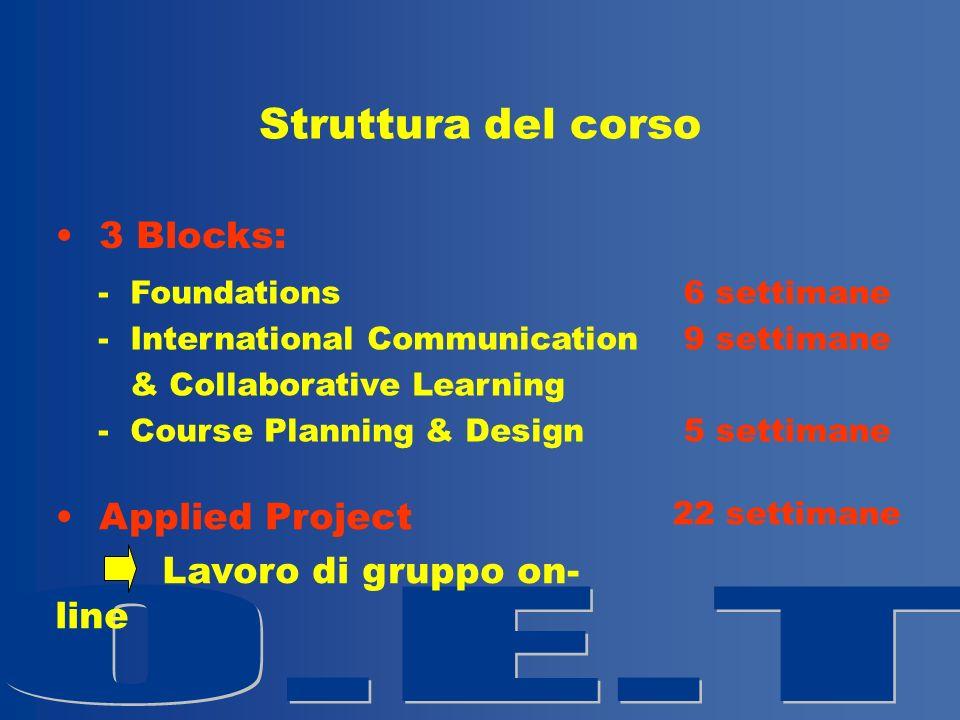 Struttura del corso 3 Blocks: - Foundations - International Communication & Collaborative Learning - Course Planning & Design 6 settimane 9 settimane