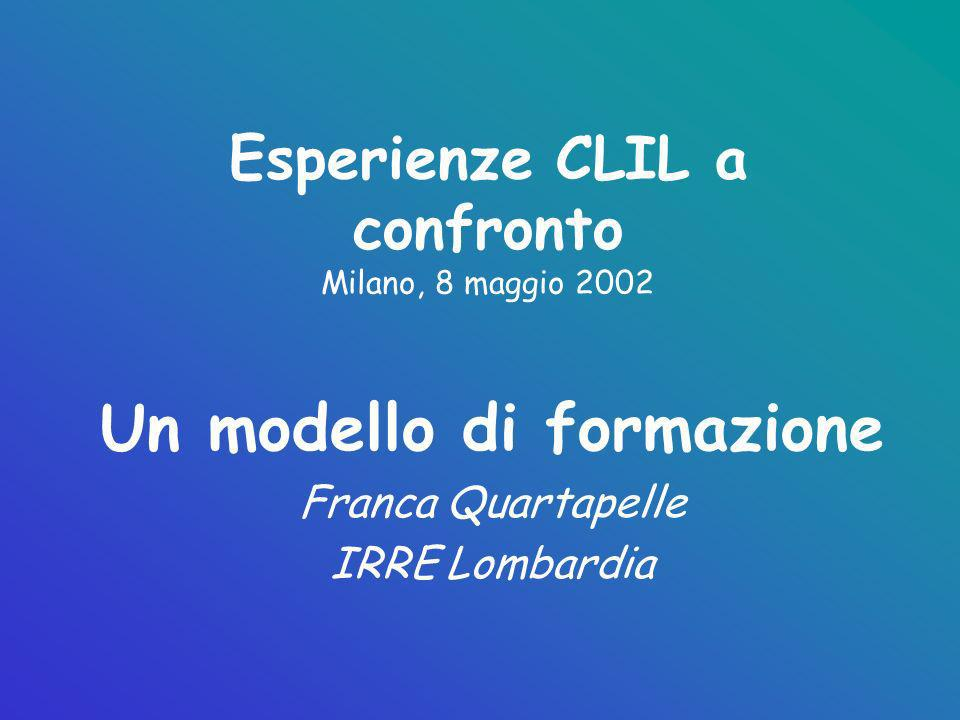 Esperienze CLIL a confronto Milano, 8 maggio 2002 Un modello di formazione Franca Quartapelle IRRE Lombardia