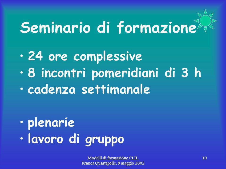 Modelli di formazione CLIL Franca Quartapelle, 8 maggio 2002 10 Seminario di formazione 24 ore complessive 8 incontri pomeridiani di 3 h cadenza settimanale plenarie lavoro di gruppo