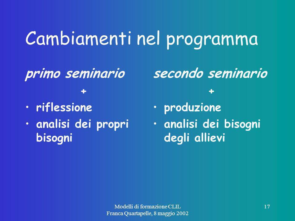Modelli di formazione CLIL Franca Quartapelle, 8 maggio 2002 17 Cambiamenti nel programma primo seminario + riflessione analisi dei propri bisogni secondo seminario + produzione analisi dei bisogni degli allievi
