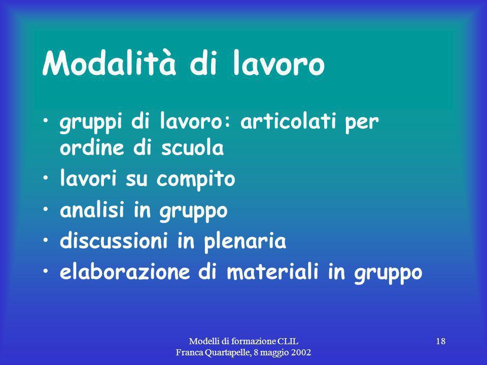 Modelli di formazione CLIL Franca Quartapelle, 8 maggio 2002 18 Modalità di lavoro gruppi di lavoro: articolati per ordine di scuola lavori su compito analisi in gruppo discussioni in plenaria elaborazione di materiali in gruppo