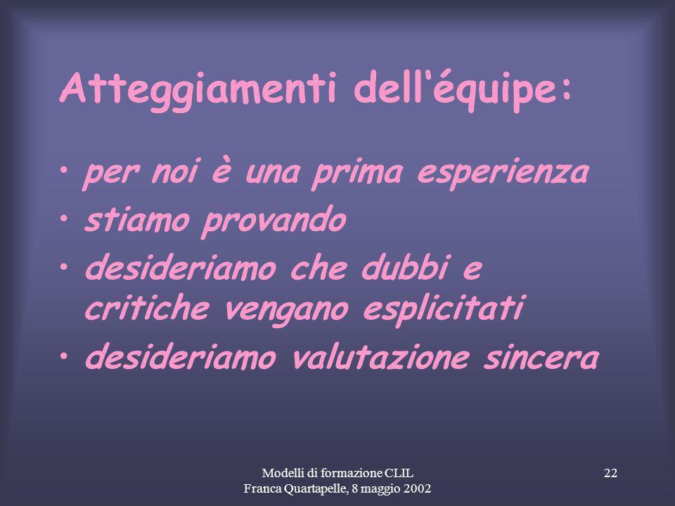 Modelli di formazione CLIL Franca Quartapelle, 8 maggio 2002 22 Atteggiamenti delléquipe: per noi è una prima esperienza stiamo provando desideriamo che dubbi e critiche vengano esplicitati desideriamo valutazione sincera