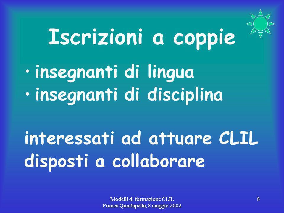 Modelli di formazione CLIL Franca Quartapelle, 8 maggio 2002 8 Iscrizioni a coppie insegnanti di lingua insegnanti di disciplina interessati ad attuare CLIL disposti a collaborare