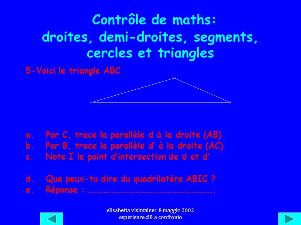 elisabetta visintainer 8 maggio 2002 esperienze clil a confronto Contrôle de maths: les formes géométriques