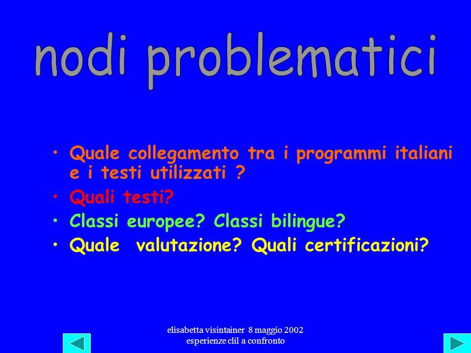 elisabetta visintainer 8 maggio 2002 esperienze clil a confronto 3>> Voici les résumés en italien de trois paragraphes: pour chacun dentre eux retrouv