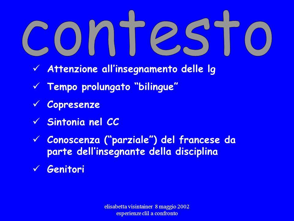 elisabetta visintainer 8 maggio 2002 esperienze clil a confronto Matematica in francese Storia in francese +matematica in tedesco +geografia in tedesc