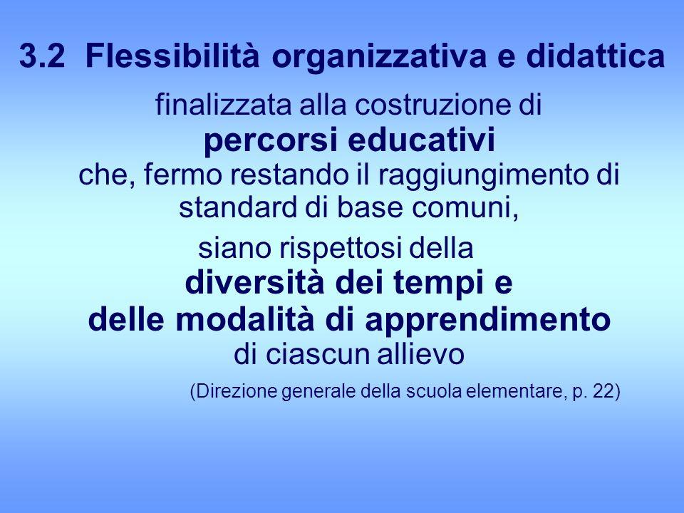 3.2 Flessibilità organizzativa e didattica finalizzata alla costruzione di percorsi educativi che, fermo restando il raggiungimento di standard di bas