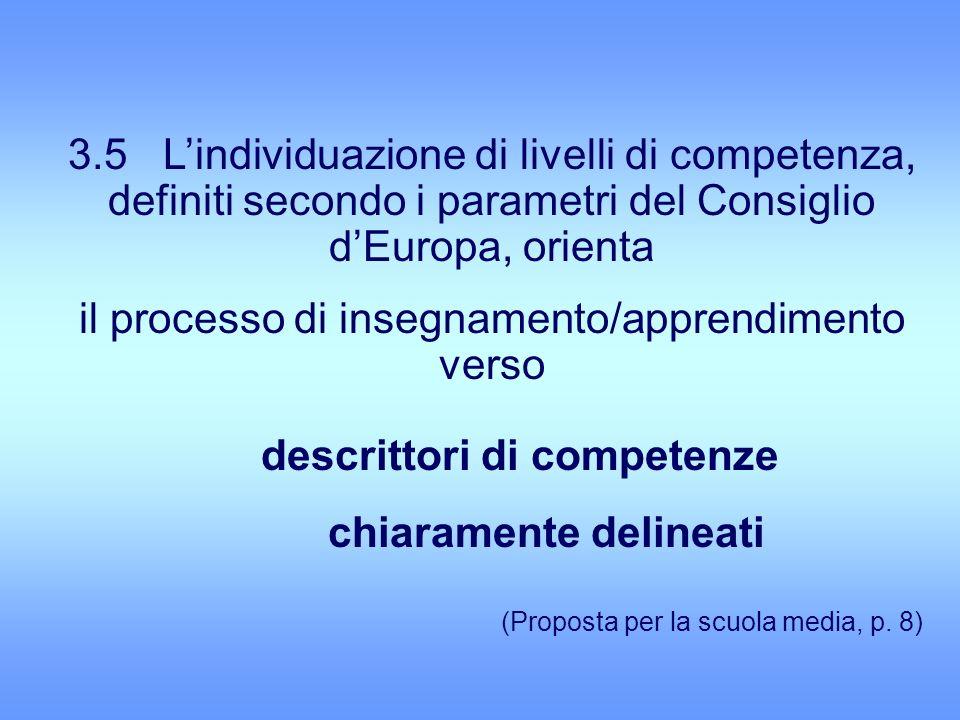 3.5 Lindividuazione di livelli di competenza, definiti secondo i parametri del Consiglio dEuropa, orienta il processo di insegnamento/apprendimento verso descrittori di competenze chiaramente delineati (Proposta per la scuola media, p.