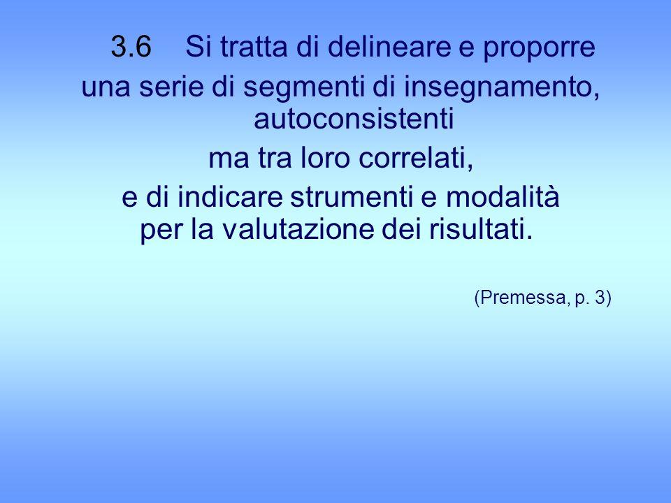 3.6 Si tratta di delineare e proporre una serie di segmenti di insegnamento, autoconsistenti ma tra loro correlati, e di indicare strumenti e modalità