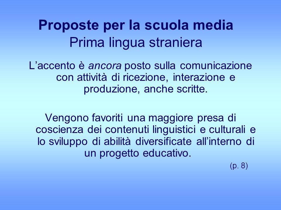 Proposte per la scuola media Prima lingua straniera Laccento è ancora posto sulla comunicazione con attività di ricezione, interazione e produzione, anche scritte.