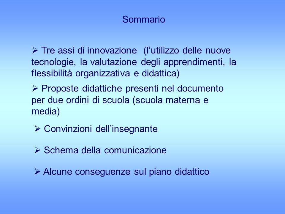 Sommario Tre assi di innovazione (lutilizzo delle nuove tecnologie, la valutazione degli apprendimenti, la flessibilità organizzativa e didattica) Pro