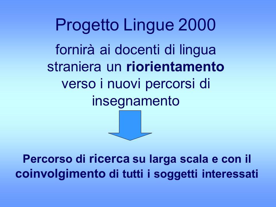 Progetto Lingue 2000 fornirà ai docenti di lingua straniera un riorientamento verso i nuovi percorsi di insegnamento Percorso di ricerca su larga scal