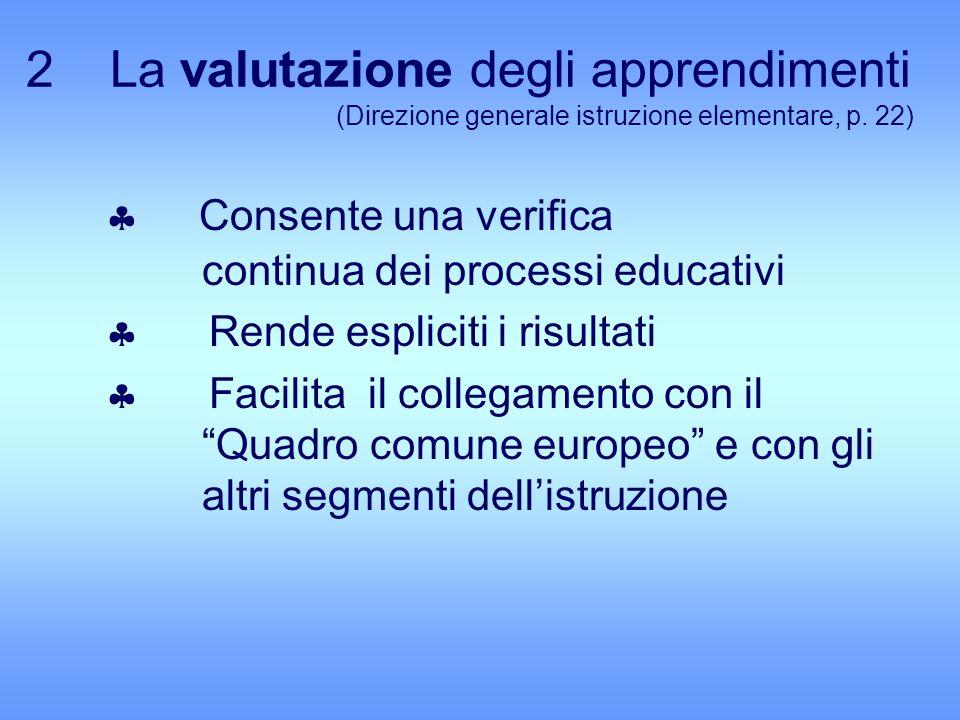 2 La valutazione degli apprendimenti (Direzione generale istruzione elementare, p. 22) Consente una verifica continua dei processi educativi Rende esp