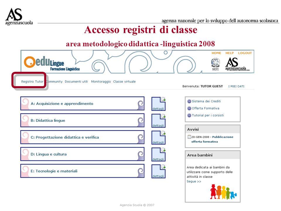 Accesso registri di classe area metodologico didattica -linguistica 2007