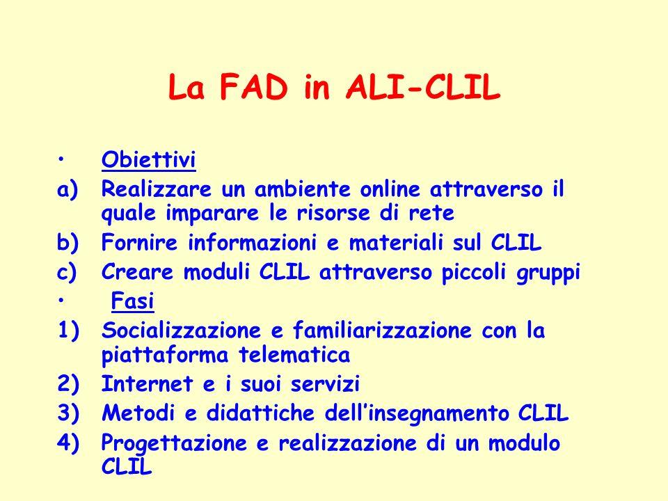 La FAD in ALI-CLIL Obiettivi a)Realizzare un ambiente online attraverso il quale imparare le risorse di rete b)Fornire informazioni e materiali sul CL