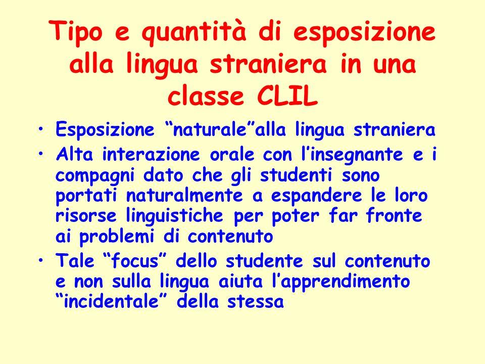 Tipo e quantità di esposizione alla lingua straniera in una classe CLIL Esposizione naturalealla lingua straniera Alta interazione orale con linsegnan