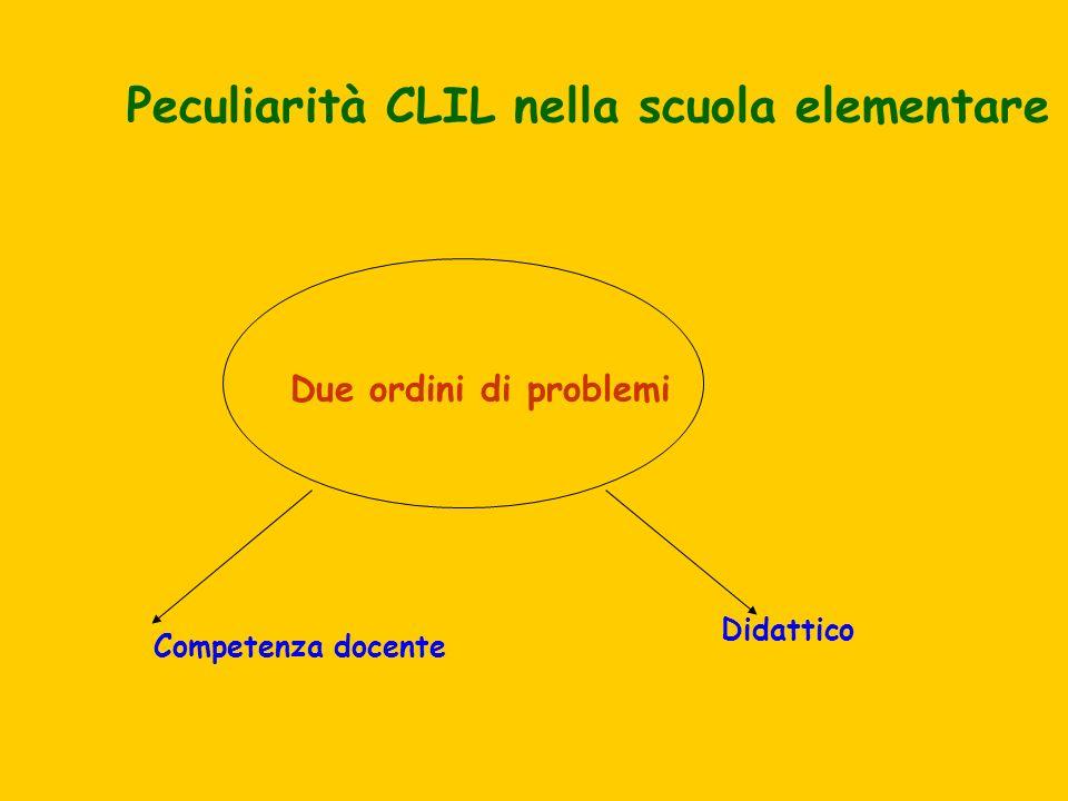 Peculiarità CLIL nella scuola elementare Due ordini di problemi Didattico Competenza docente