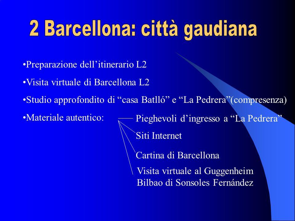 Preparazione dellitinerario L2 Visita virtuale di Barcellona L2 Studio approfondito di casa Batlló e La Pedrera(compresenza) Materiale autentico: Siti