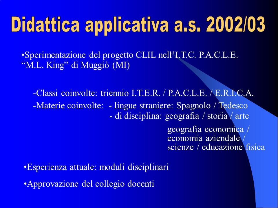 Sperimentazione del progetto CLIL nellI.T.C. P.A.C.L.E. M.L. King di Muggiò (MI) -Classi coinvolte: triennio I.T.E.R. / P.A.C.L.E. / E.R.I.C.A. -Mater