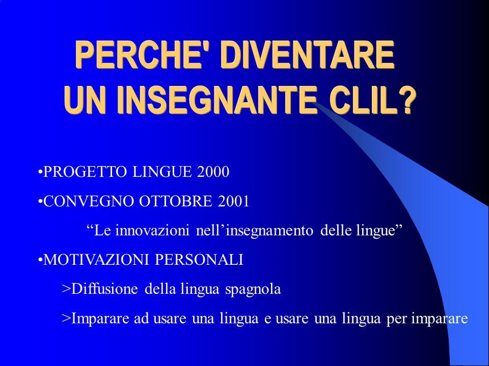 PROGETTO LINGUE 2000 CONVEGNO OTTOBRE 2001 Le innovazioni nellinsegnamento delle lingue MOTIVAZIONI PERSONALI >Diffusione della lingua spagnola >Impar