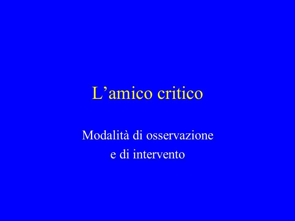 Autoring multimediale online (2) Lamico critico è un osservatore esterno con funzioni di controllo rispetto alla soggettività dellesperienza, preferibilmente un docente di ampia esperienza didattica e metodologica e di forte buonsenso.