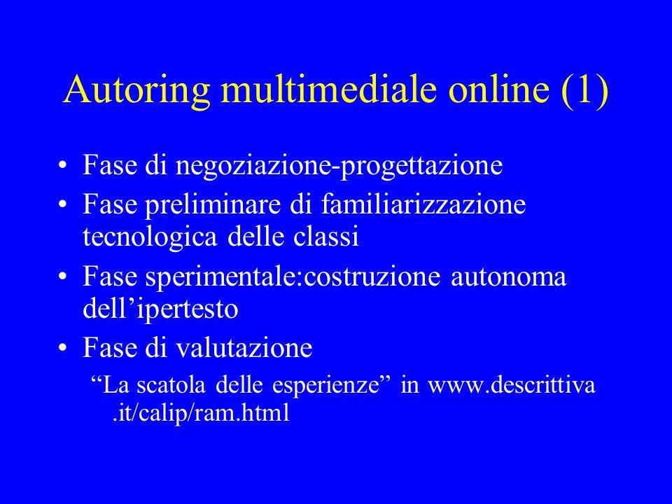 Autoring multimediale online (1) Fase di negoziazione-progettazione Fase preliminare di familiarizzazione tecnologica delle classi Fase sperimentale:c